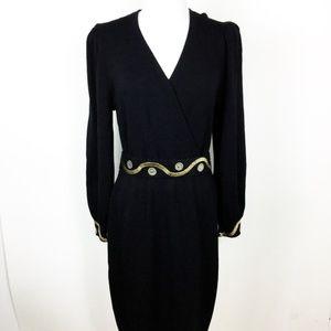 St. John Santana Knit Embellished Black Dress 10